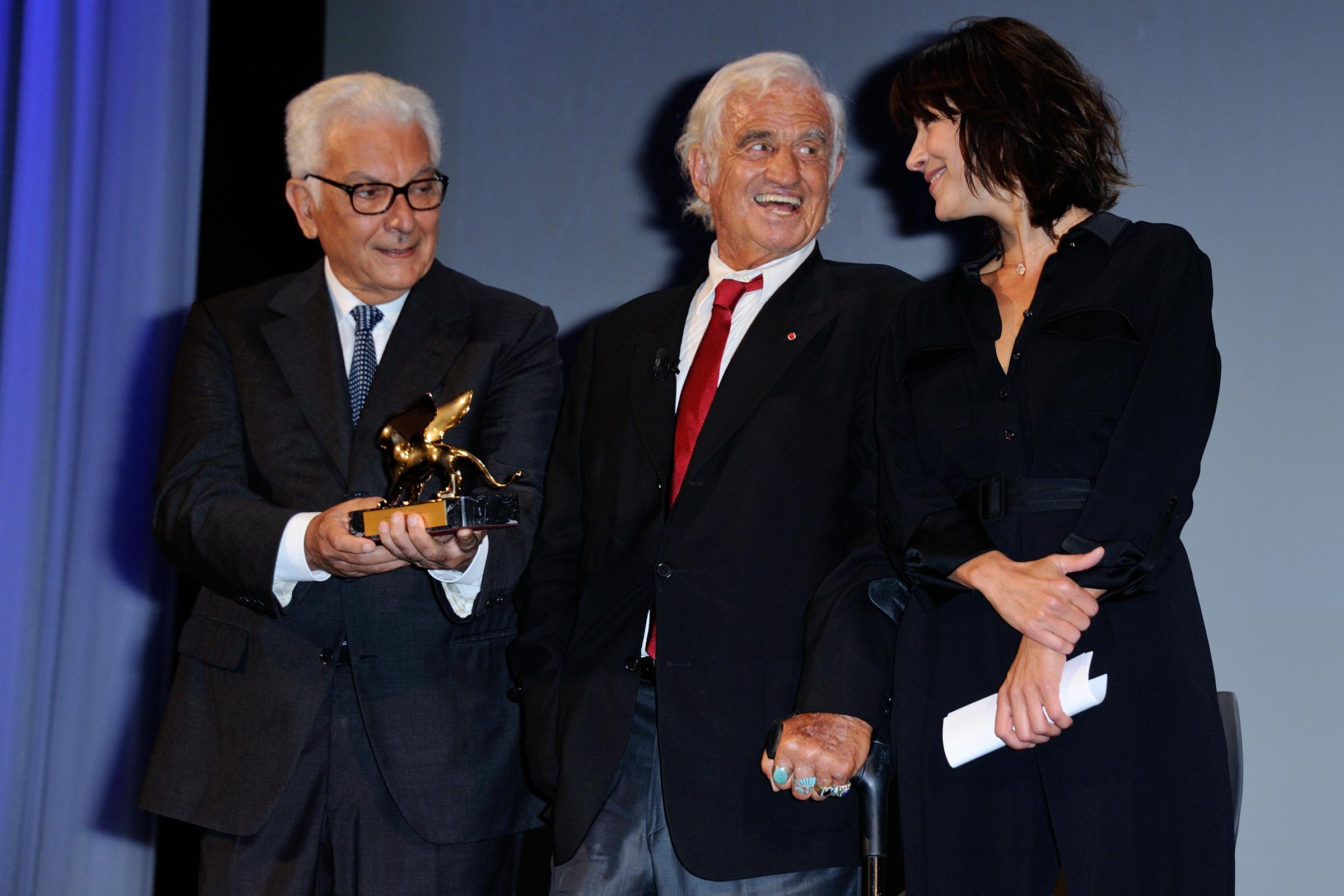 Paolo Baratta, Jean-Paul Belmondo and Sophie Marceau attending the Ceremony awarding him with the Golden Lion for Career ('Leon d'Oro alla Carriera') on the Lido in Venice, Italy as part of the 73rd Mostra, Venice International Film Festival on September 08, 2016. Photo by Aurore Marechal/ABACAPRESS.COM LaPresse Only italyVenezia : Paul Belmondo riceve il Leone d'Oro alla Carriera562125
